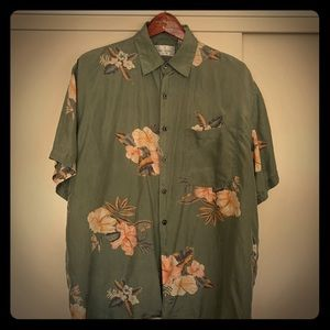 Bill Blass Mens Shirt Green Floral 100% Silk